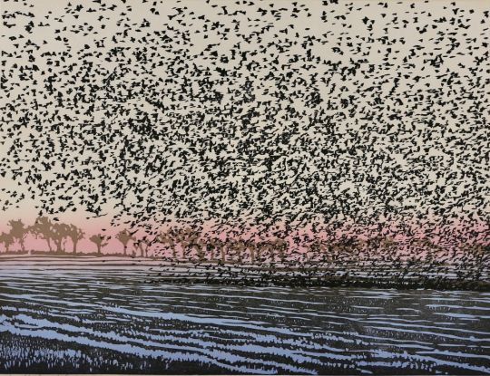 the flock in a winter landscape